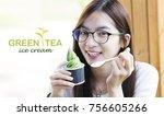 happy asian girl with green tea ... | Shutterstock . vector #756605266