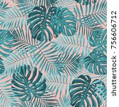 tropical leaf design featuring... | Shutterstock .eps vector #756606712