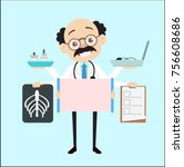cartoon doctor with many... | Shutterstock .eps vector #756608686