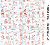 christmas doodle background | Shutterstock .eps vector #756610882