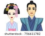 animation portrait of japanese... | Shutterstock .eps vector #756611782