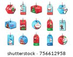 set of new year sale tags... | Shutterstock .eps vector #756612958