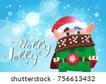 holly jolly poster merry... | Shutterstock .eps vector #756613432