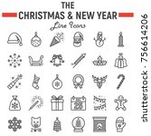 christmas line icon set  new... | Shutterstock .eps vector #756614206