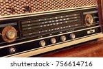 close up of vintage radio... | Shutterstock . vector #756614716