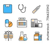 medical icon set thin line... | Shutterstock .eps vector #756623542
