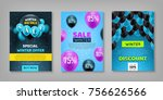 winter sale set. sticker ... | Shutterstock .eps vector #756626566