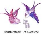 Watercolor Painted Birds In...