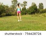 young beautiful girl running ...   Shutterstock . vector #756628726