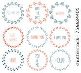 hand drawn floral wreath for...   Shutterstock .eps vector #756634405