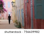 a silhouette of a man walking... | Shutterstock . vector #756639982