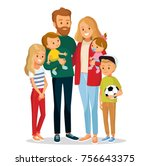 vector family with children | Shutterstock .eps vector #756643375