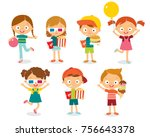 vector set of children | Shutterstock .eps vector #756643378