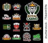 casino poker logo templates.... | Shutterstock .eps vector #756644596