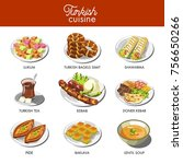 turkish cuisine food and... | Shutterstock .eps vector #756650266