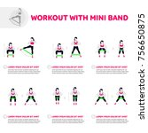 workout with mini band. fitness ... | Shutterstock .eps vector #756650875