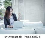 asian business woman with... | Shutterstock . vector #756652576