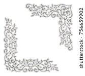 silver textured vintage corners ... | Shutterstock .eps vector #756659902