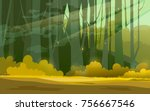 sunny forest background. vector ... | Shutterstock .eps vector #756667546