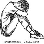 vector illustration  sad young ... | Shutterstock .eps vector #756676345