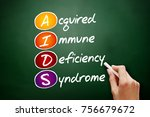 Small photo of AIDS - Acquired Immune Deficiency Syndrome, acronym health concept on blackboard