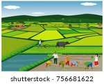 lifestyle of farmer vector... | Shutterstock .eps vector #756681622