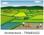 lifestyle of farmer vector...   Shutterstock .eps vector #756681622