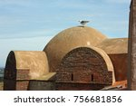 seagull on the roof of fortress ... | Shutterstock . vector #756681856