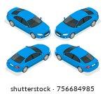 set of sedan cars. isolated car ... | Shutterstock . vector #756684985