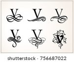 vintage set . capital letter v... | Shutterstock .eps vector #756687022