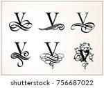 vintage set . capital letter v... | Shutterstock .eps vector #756687022