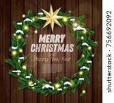 christmas wreath with green fir ...   Shutterstock .eps vector #756692092