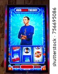 Small photo of LAS VEGAS, USA - SEP 21, 2017: Jim Parsons as Sheldon Cooper, The Big Bang Theory, American TV sitcom, image on the casino machine in Excalibur Hotel in Las Vegas