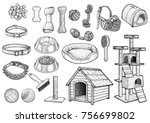 pet toy collection illustration ... | Shutterstock .eps vector #756699802