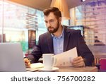 handsome marketing manager... | Shutterstock . vector #756700282