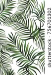 green palm leaves on the white... | Shutterstock . vector #756701302