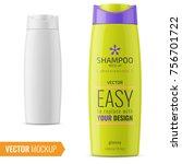 glossy plastic bottle for... | Shutterstock .eps vector #756701722