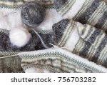 needlework. hand knitting warm... | Shutterstock . vector #756703282
