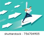 businessman with sword on arrow ... | Shutterstock .eps vector #756704905