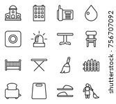 thin line icon set   mansion ... | Shutterstock .eps vector #756707092