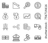 thin line icon set   coin stack ... | Shutterstock .eps vector #756714616