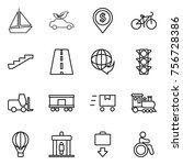 thin line icon set   boat  eco... | Shutterstock .eps vector #756728386