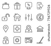 thin line icon set   purse ... | Shutterstock .eps vector #756729526