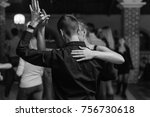 black and white couple dance... | Shutterstock . vector #756730618