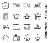 thin line icon set   portfolio  ...