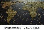 world map contour made of...   Shutterstock . vector #756734566