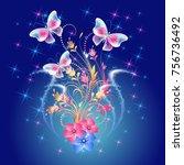 fantasy flying butterflies ... | Shutterstock . vector #756736492