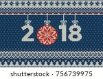 merry christmas and new year... | Shutterstock .eps vector #756739975