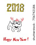 happy 2018 new year card. funny ... | Shutterstock .eps vector #756742186