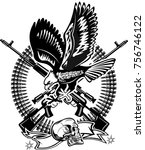 eagle and guns. revolver and... | Shutterstock . vector #756746122